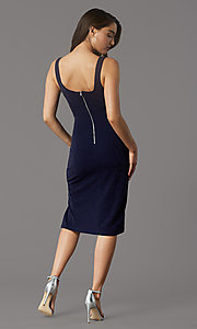 Image of metallic-knit knee-length cocktail party dress. Style: MY-5990AL1C Back Image