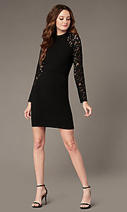 Image of high-neck little black party dress with lace sleeves. Style: MY-6013US1C Front Image