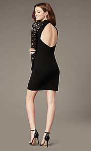Image of high-neck little black party dress with lace sleeves. Style: MY-6013US1C Back Image