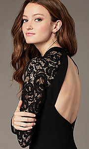 Image of high-neck little black party dress with lace sleeves. Style: MY-6013US1C Detail Image 1