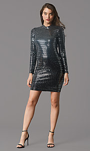 Image of long-sleeve short metallic holiday party dress. Style: MY-6010GE1C Front Image