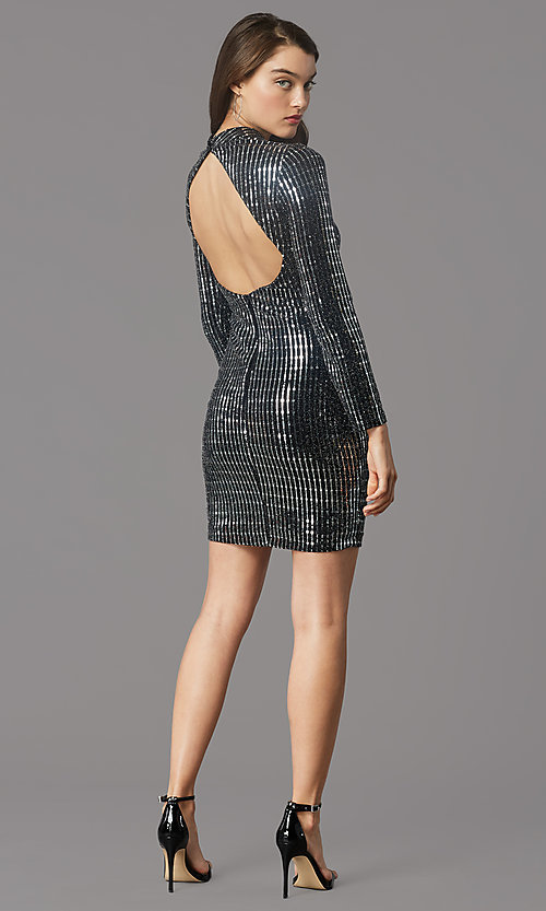 Image of long-sleeve short metallic holiday party dress. Style: MY-6010GE1C Back Image