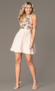 Image of short homecoming dress with sequin bodice. Style: MCR-PL-2558 Detail Image 2