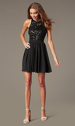 Short Homecoming Dress with Sequin Bodice