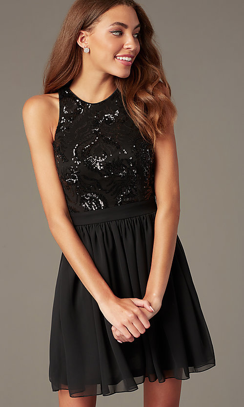Image of short homecoming dress with sequin bodice. Style: MCR-PL-2558 Detail Image 1