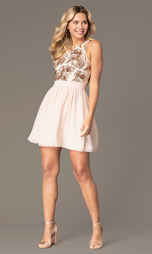 Image of short homecoming dress with sequin bodice. Style: MCR-PL-2558 Front Image
