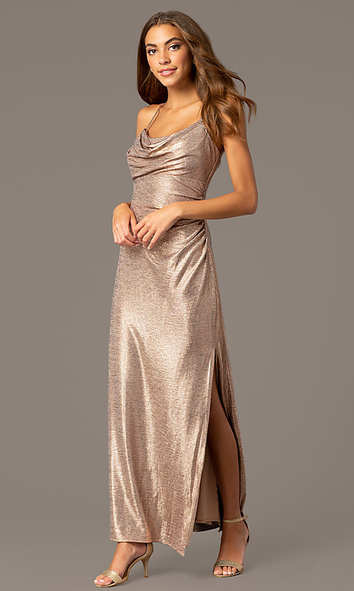 Image of metallic rose gold open-back long formal dress. Style: MO-21793 Front Image