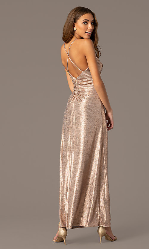 Image of metallic rose gold open-back long formal dress. Style: MO-21793 Back Image