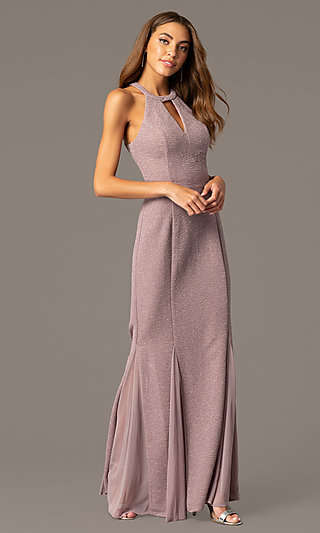 Long Glitter Mother-of-the-Bride Formal Dress