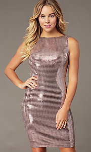 Image of mauve pink metallic short sheath party dress. Style: MO-21848 Front Image