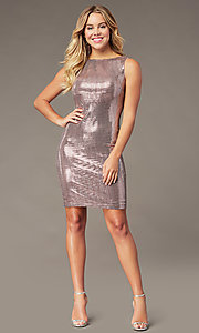 Image of mauve pink metallic short sheath party dress. Style: MO-21848 Detail Image 2