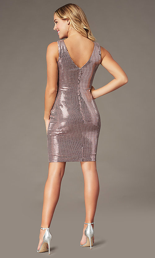 Image of mauve pink metallic short sheath party dress. Style: MO-21848 Back Image