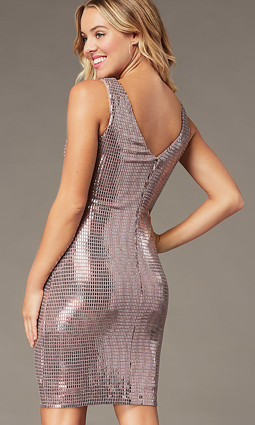 Image of mauve pink metallic short sheath party dress. Style: MO-21848 Detail Image 1