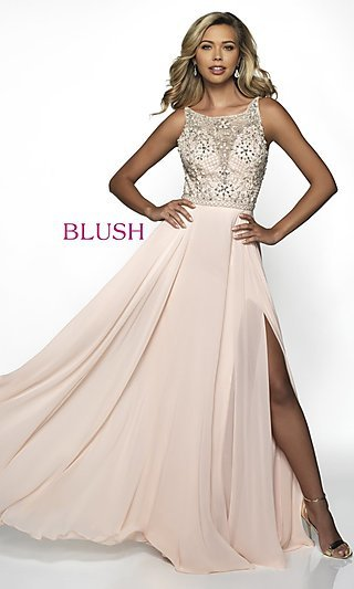 Long Open-Back Formal Gown with a Bateau Neckline