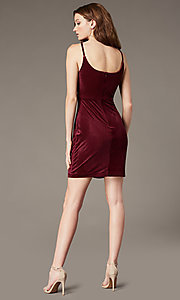 Image of cowl-neck short velvet party dress in wine red. Style: MO-12746 Back Image