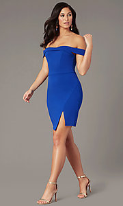 Image of short off-shoulder wedding-guest party dress. Style: MY-5858US1C Front Image