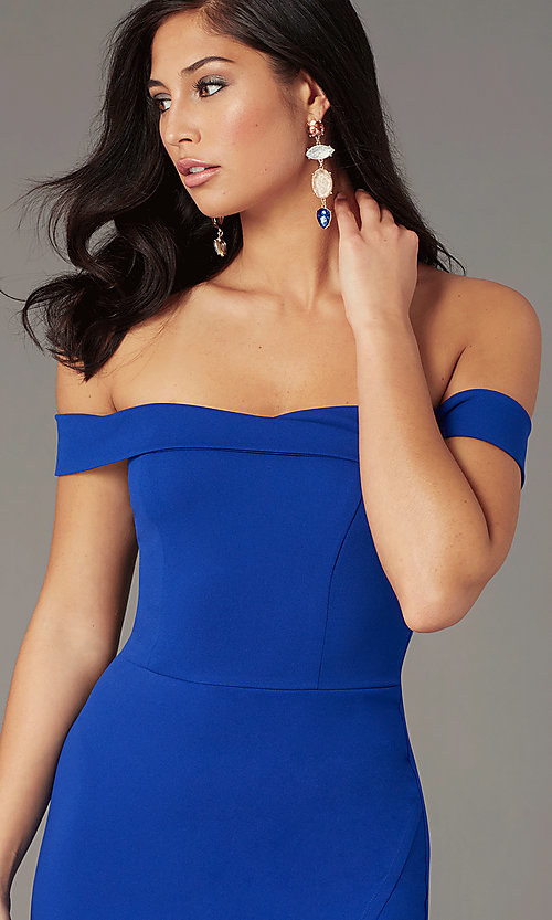 Image of short off-shoulder wedding-guest party dress. Style: MY-5858US1C Detail Image 1