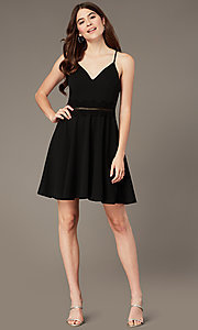 Image of short black party dress with ladder-lace waist. Style: MY-5879US1C Front Image