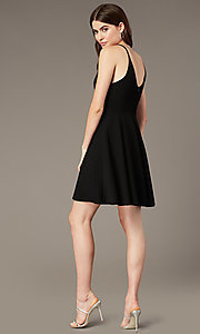 Image of short black party dress with ladder-lace waist. Style: MY-5879US1C Back Image