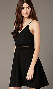 Image of short black party dress with ladder-lace waist. Style: MY-5879US1C Detail Image 1
