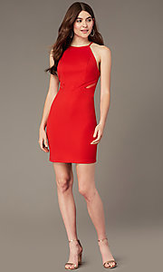 Image of short tomato red party dress with sheer sides. Style: MY-5875US1C Detail Image 1