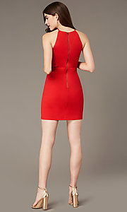 Image of short tomato red party dress with sheer sides. Style: MY-5875US1C Detail Image 2