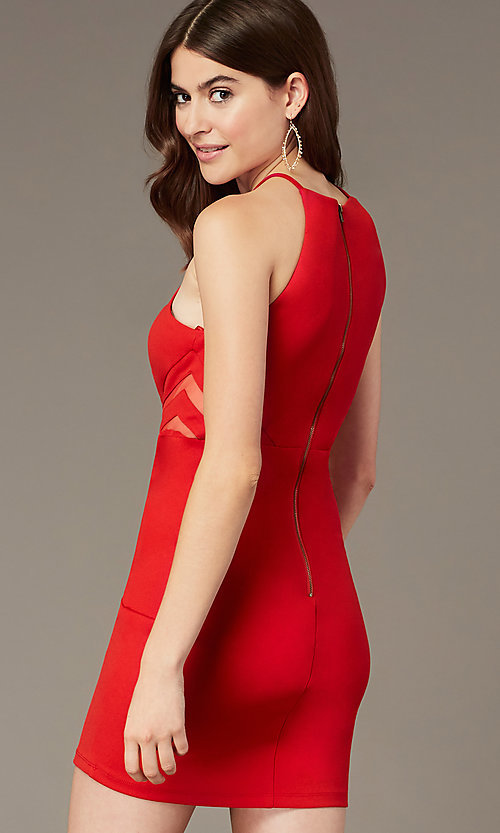 Image of short tomato red party dress with sheer sides. Style: MY-5875US1C Back Image
