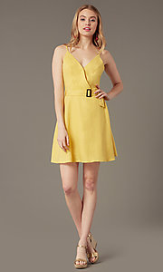 Image of short yellow v-neck party dress with attached belt. Style: MY-7370SL1D Front Image