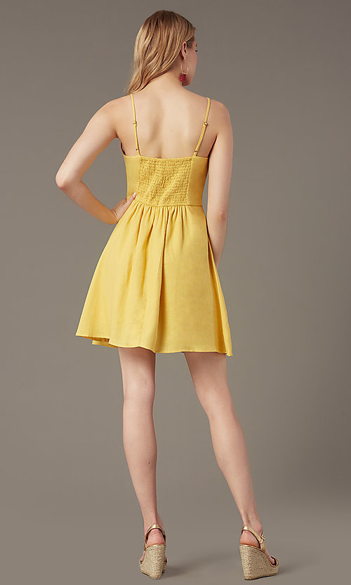 Image of short yellow v-neck party dress with attached belt. Style: MY-7370SL1D Back Image
