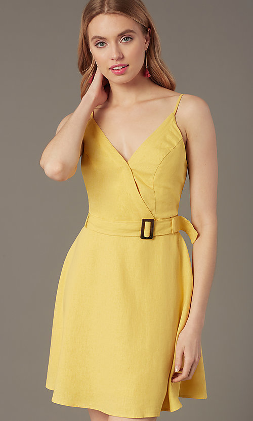 Image of short yellow v-neck party dress with attached belt. Style: MY-7370SL1D Detail Image 1