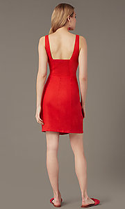 Image of button-front v-neck short casual party dress. Style: MY-7374SL1D Back Image