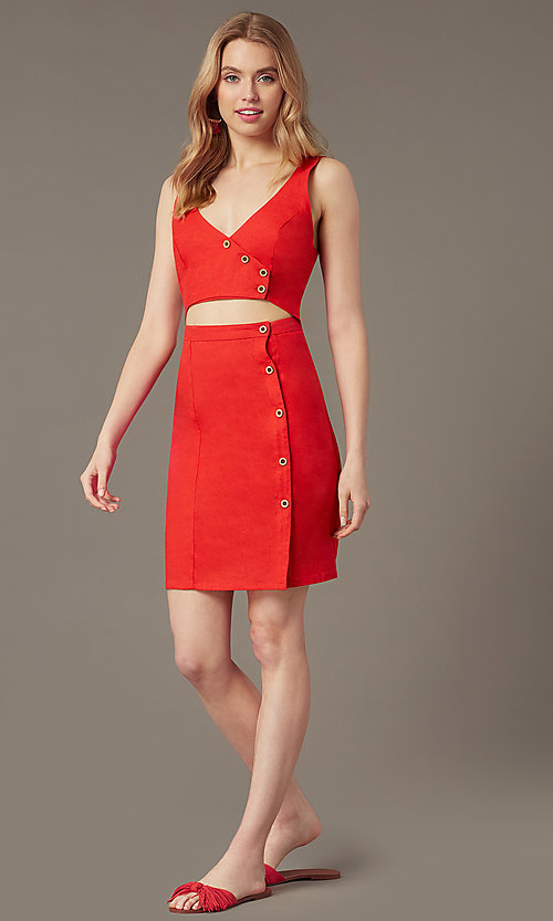 Image of button-front v-neck short casual party dress. Style: MY-7374SL1D Front Image