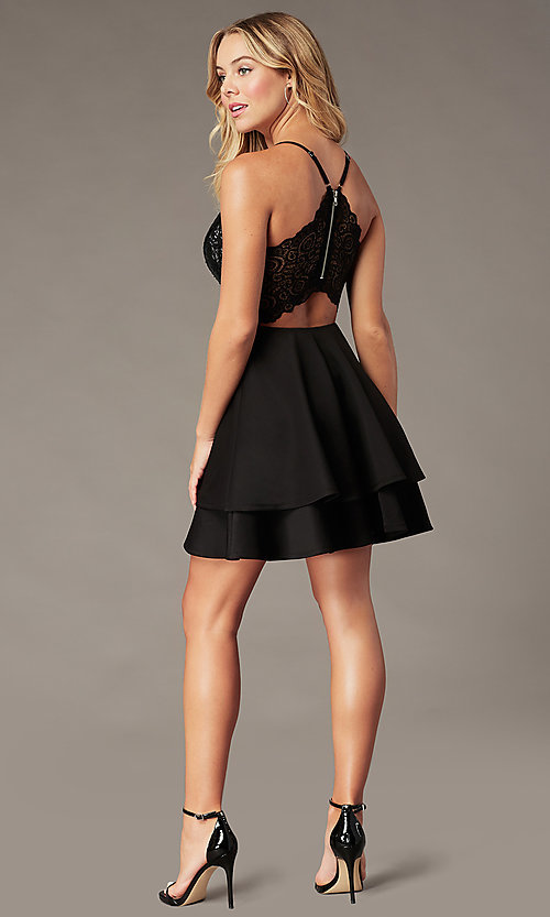 Image of short black sequin-bodice homecoming party dress. Style: EM-HAT-1733-001 Back Image