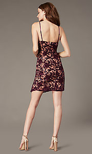 Image of embroidered short v-neck sheath homecoming dress. Style: EM-FWR-3814-559 Back Image