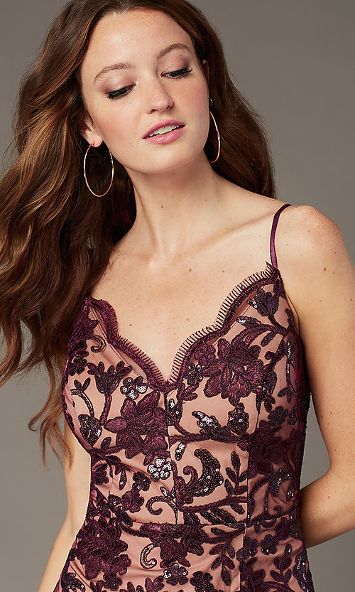 Image of embroidered short v-neck sheath homecoming dress. Style: EM-FWR-3814-559 Detail Image 2