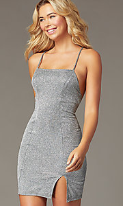 Image of short silver metallic party dress with open back. Style: MY-5856LT1C Detail Image 1