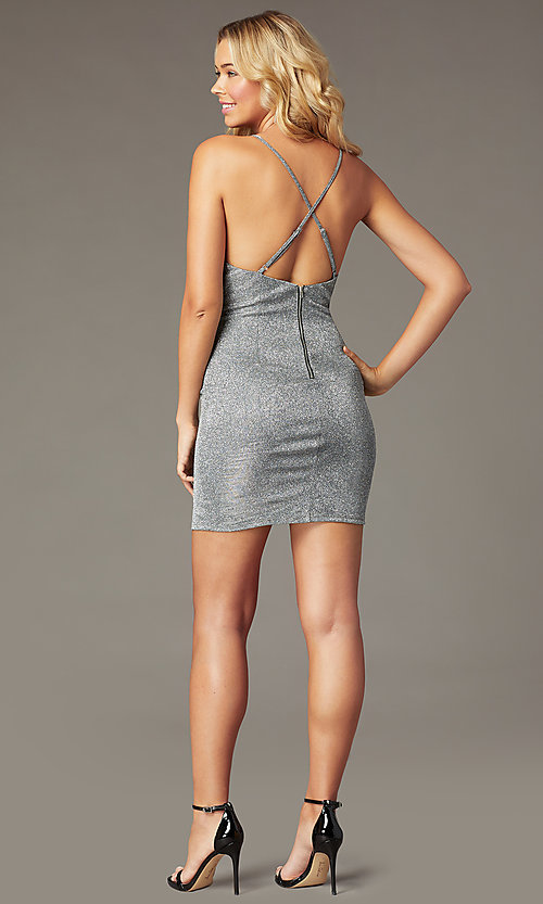 Image of short silver metallic party dress with open back. Style: MY-5856LT1C Back Image