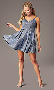 Image of glitter-knit short homecoming dress with pockets. Style: MY-7393SZ1P Front Image