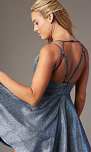Image of glitter-knit short homecoming dress with pockets. Style: MY-7393SZ1P Detail Image 2