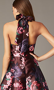 Image of floral-print short halter homecoming party dress. Style: MY-7486TI1P Detail Image 3