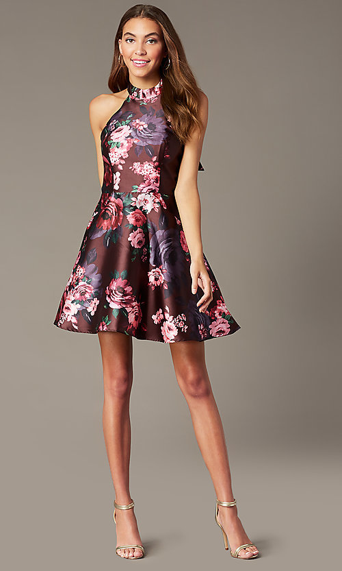 Image of floral-print short halter homecoming party dress. Style: MY-7486TI1P Detail Image 1