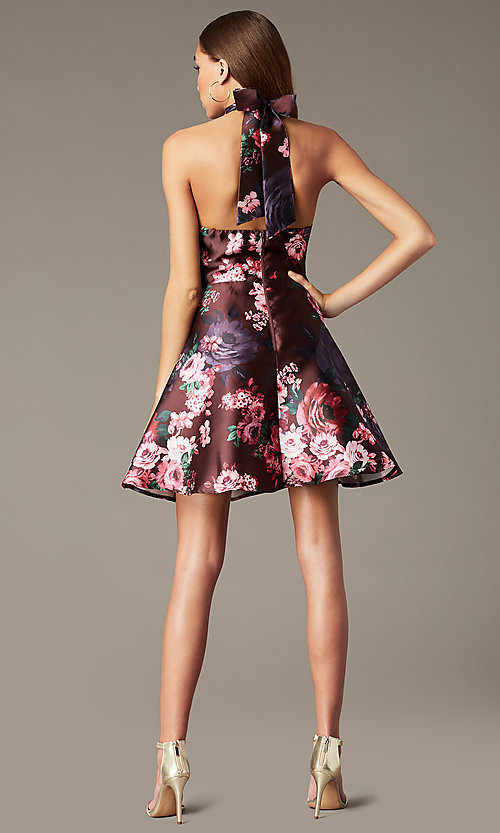 Image of floral-print short halter homecoming party dress. Style: MY-7486TI1P Back Image