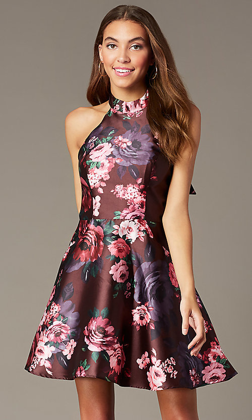 Image of floral-print short halter homecoming party dress. Style: MY-7486TI1P Front Image