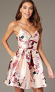 Image of back-corset short print homecoming party dress. Style: MY-7405TI1P Front Image
