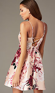 Image of back-corset short print homecoming party dress. Style: MY-7405TI1P Back Image