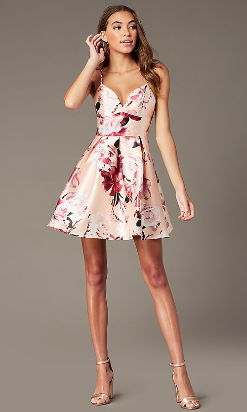 Image of back-corset short print homecoming party dress. Style: MY-7405TI1P Detail Image 1