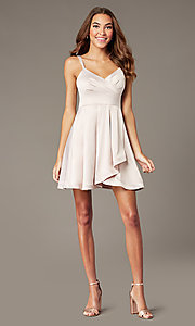 Image of satin short v-neck buff pink homecoming dress. Style: MY-7408YB1P Detail Image 1