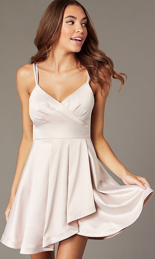 Image of satin short v-neck buff pink homecoming dress. Style: MY-7408YB1P Front Image