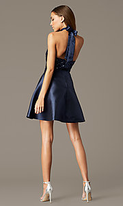 Image of sequin-halter-bodice short satin homecoming dress. Style: MY-7454YP1P Back Image