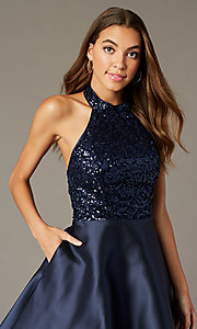 Image of sequin-halter-bodice short satin homecoming dress. Style: MY-7454YP1P Detail Image 2